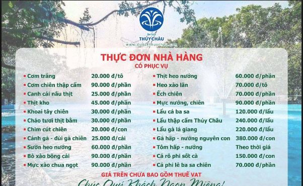 Food prices at restaurants in Thuy Chau tourist area.