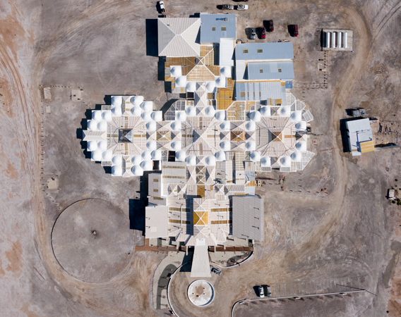 Looking down from the sky, visitors can still see the square Andean cross-shaped architecture created by the Salt Hotel.